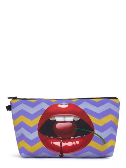 Chevron & Lips Print Makeup Bag