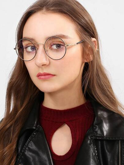 Gafas de marco metal de lente plana redonda