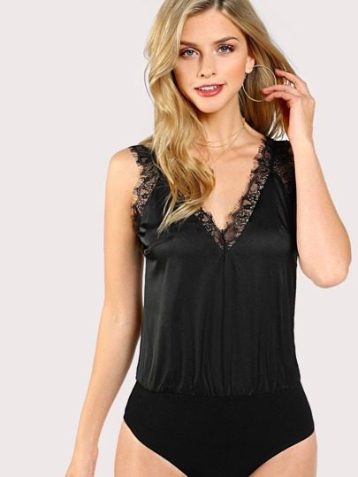 Lace Accent Sleeveless Bodysuit BLACK