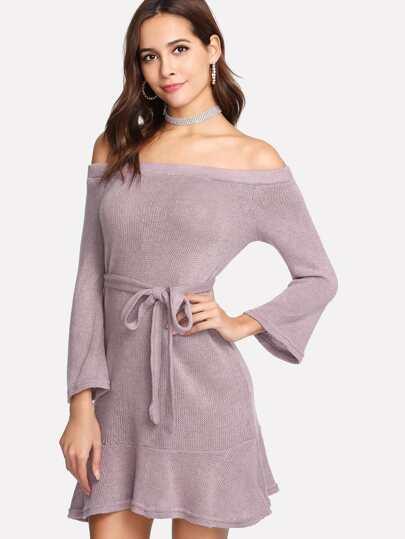 Bardot Pep Hem Knit Dress