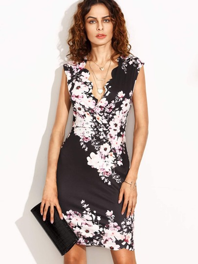 Flower Print Scalloped Trim Sheath Dress