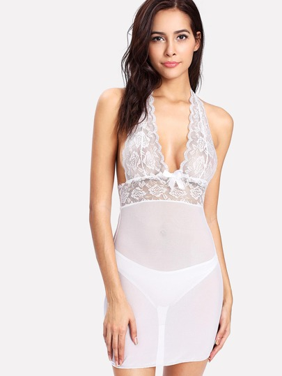 Lace & Mesh Dress With Thong