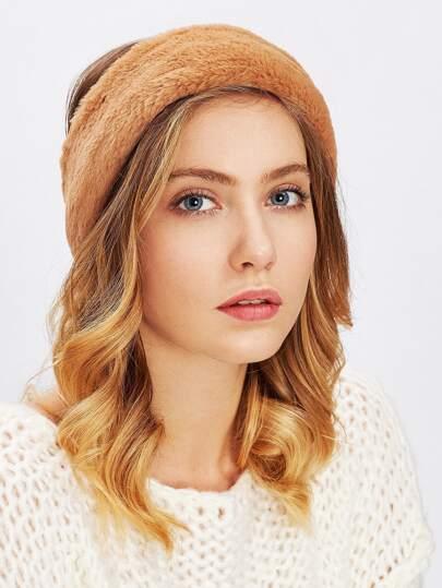 Faux Fur Overlay Elastic Headband
