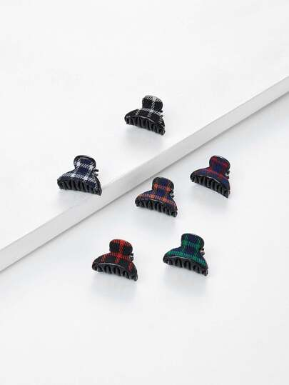 Plaid Claw Clip 6pcs