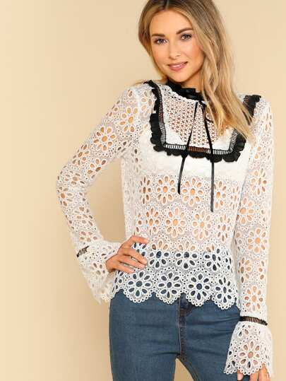 Contrast Frill Detail Eyelet Guipure Lace Top