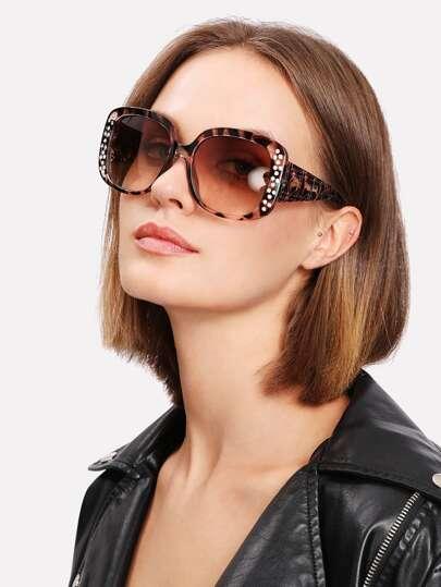 Gafas de sol de marco leopardo con diseño de diamante de imitación