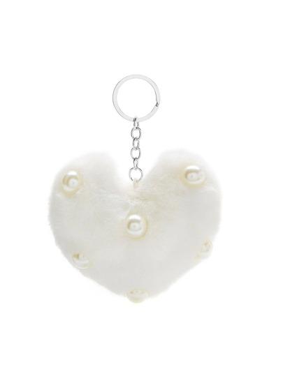 Faux Pearl Detail Heart Keychain