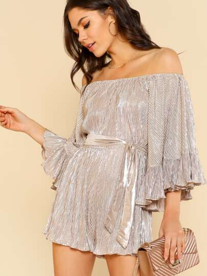 Metallic Pleated Wide Ruffle Sleeve Romper NUDE