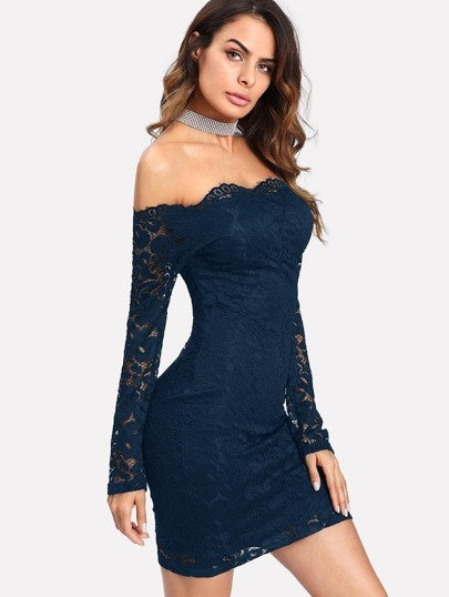 Bardot Floral Lace Overlay Bodycon Dress