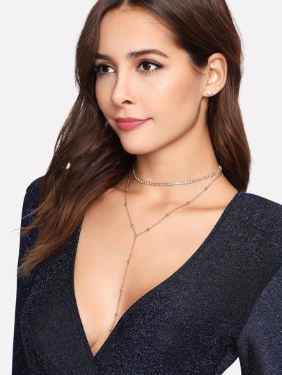 Rhinestone Y Chain Necklace & Earring Set