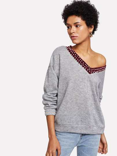 Contrast Panel Pearl Beading Drop Shoulder Jumper