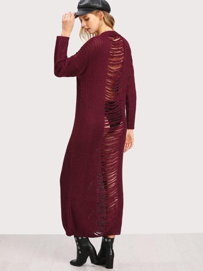 Shredded Back Sweater Dress