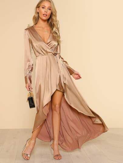 Long Sleeve Asymmetrical Wrap Dress GOLD