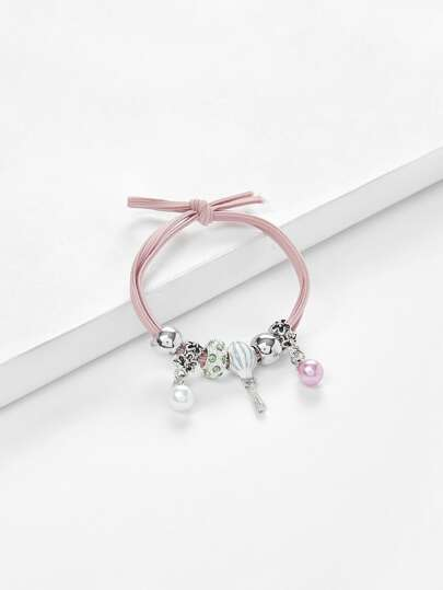 Faux Pearl Charm Knot Hair Tie