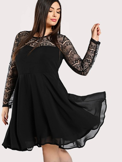 Round Neck Fit and Flare Lace Dress BLACK