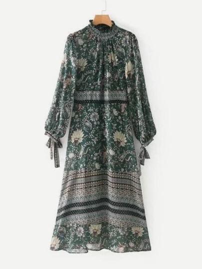 Vestido floral con volantes y lazo para atar