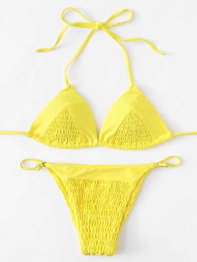 Set de bikini fruncido con lazo