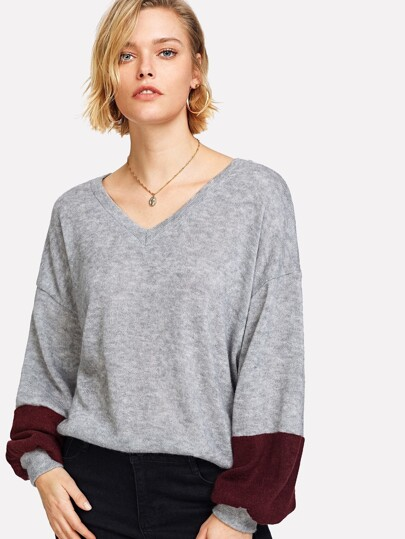 V-neckline Drop Shoulder Sweater