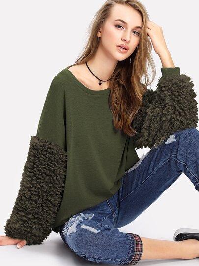 Faux Fur Sleeve Ribbed Knit Sweatshirt