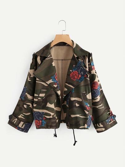 Camo Print Drawstring Hem Floral Jacket