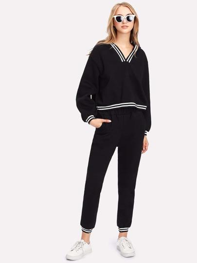 Sweat encapuchonné rayure bicolore et Pantalons