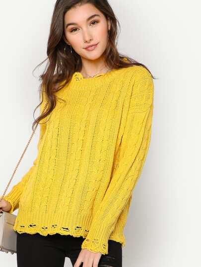 Cable Knit Sweater with Distressed Detail YELLOW