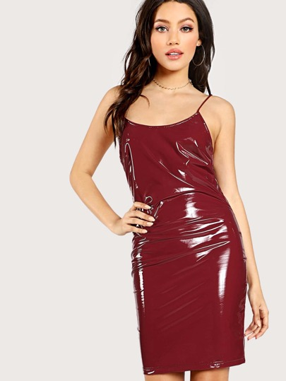 Metallic PU Fitted Cami Dress
