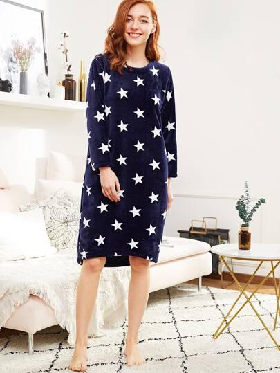All Over Star Pattern Plush Night Dress