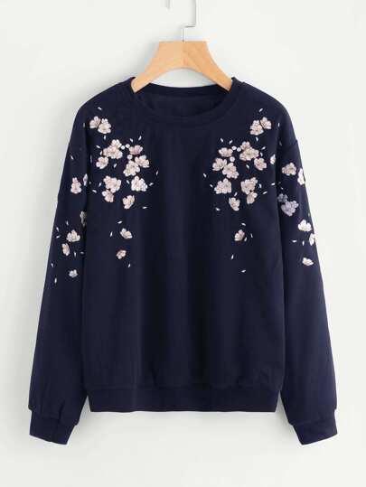 Flower Petal Embroidered Sweatshirt
