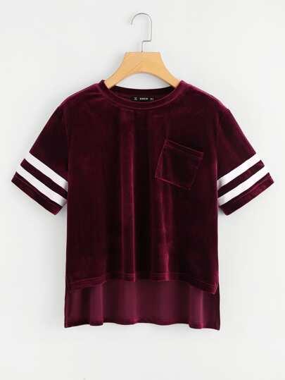 Camiseta de rayas universitarias con bajo asimétrico