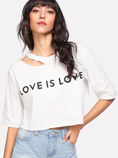 Tee-shirt col découpé asymétrique imprimé des lettres