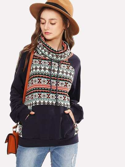 Cowl Neck Tribal Print Sweatshirt