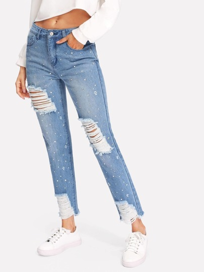 Rhinestone Detail Distressed Jeans