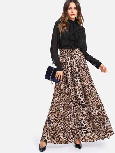 Box Pleated Leopard Maxi Skirt