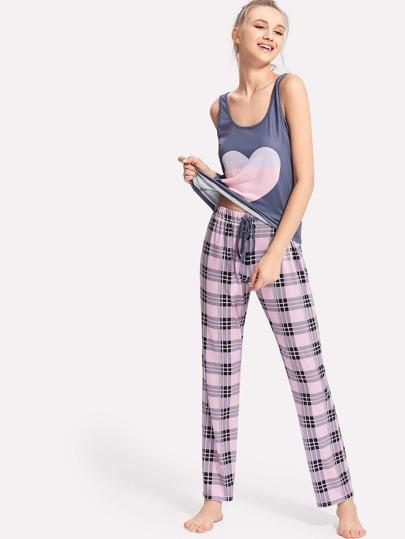 Conjunto de pijama con corazón de cuadros