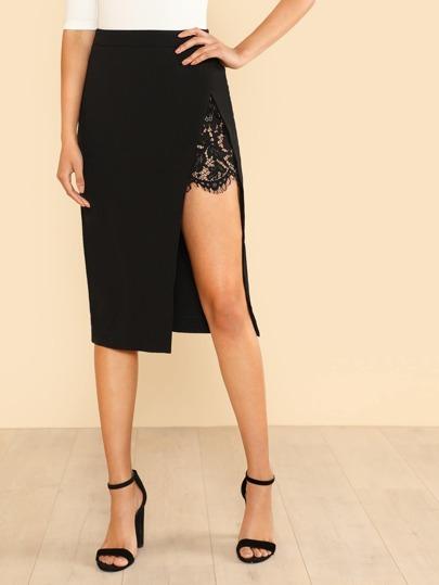 Side Slit Lace Underlay Maxi Skirt BLACK