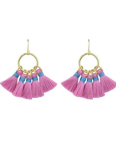 Purple Boho Style Party Earrings Colorful Tassel Drop Earrings