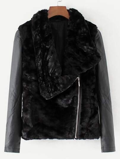 PU Panel Faux Fur Jacket