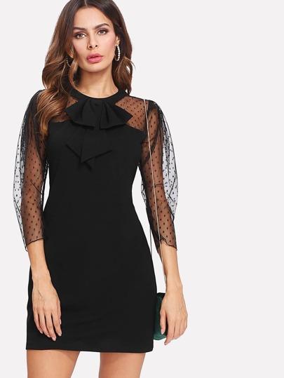 Dot Mesh Shoulder Ruffle Accent Dress