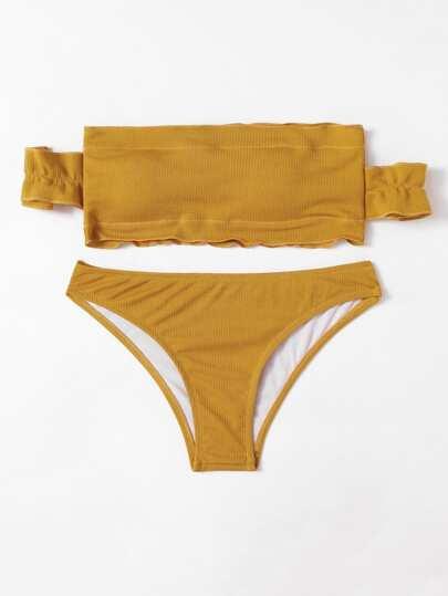 Set de bikini de hombros descubiertos