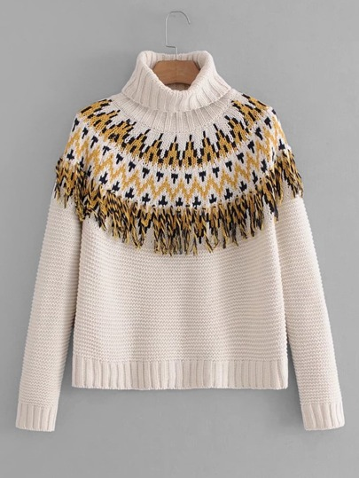 Fringe Detail Chevron Sweater