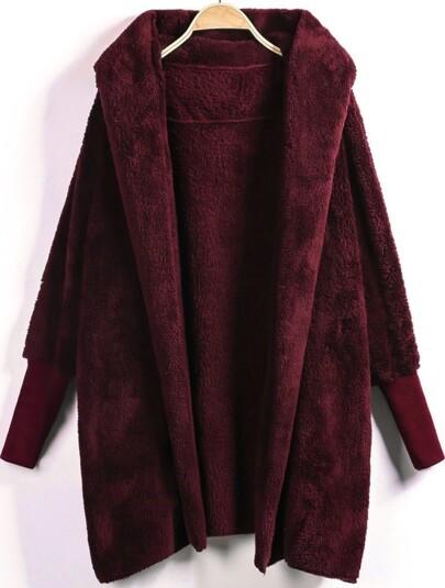 Abrigo abierto en la parte delantera con capucha