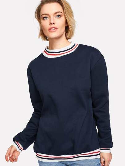 Contrast Striped Trim Sweatshirt