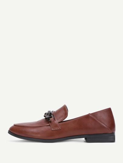 Chaussures plates en PU avec bout arrondi avec chaîne