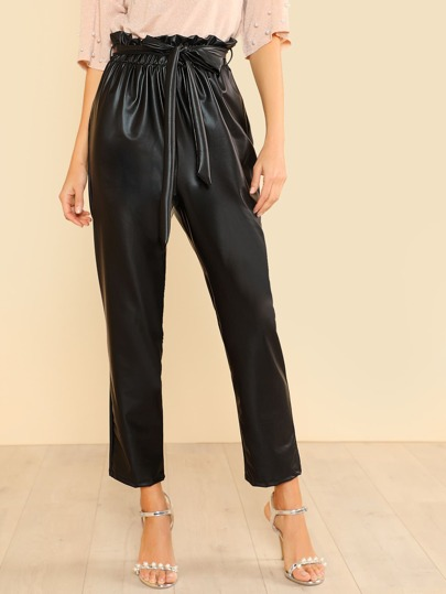 PU Belted Trouser Pants BLACK