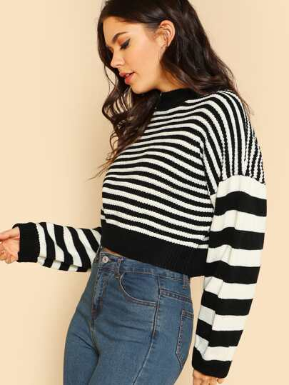 Knitted Constrast Striped Pullover