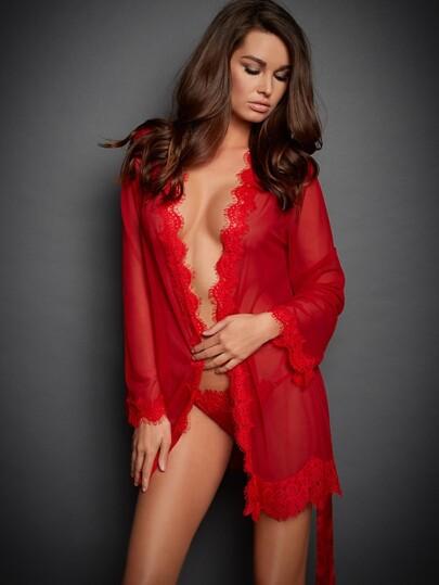 Eyelash Lace Trim Belted Robe Set