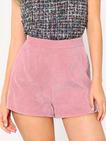 Shorts en cuir velours avec poche