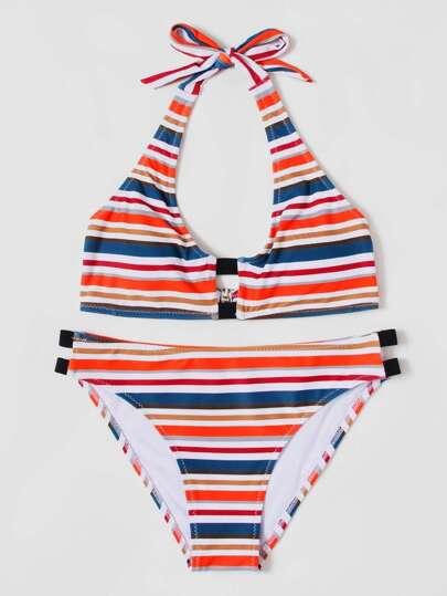 Set de bikini de rayas de color block