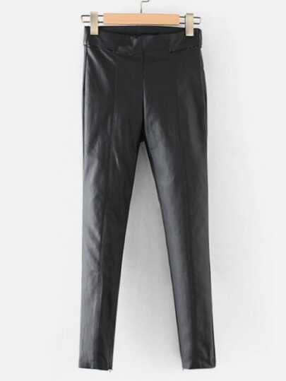 Pantalones de pu con detalle de costura